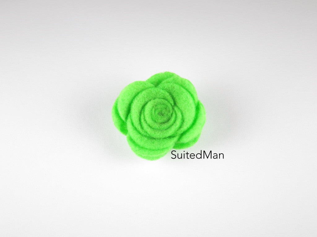 Lapel Flower, Felt, Rose, Spring Green - SuitedMan