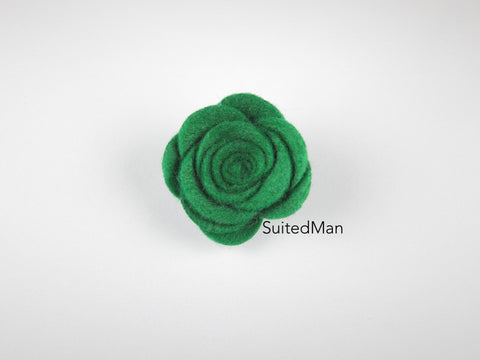 Lapel Flower, Felt, Rose, Ivy Green - SuitedMan
