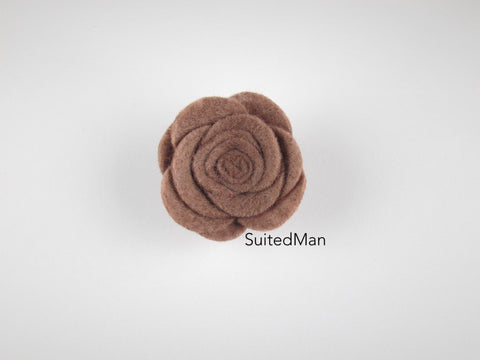 Lapel Flower, Felt, Rose, Taupe