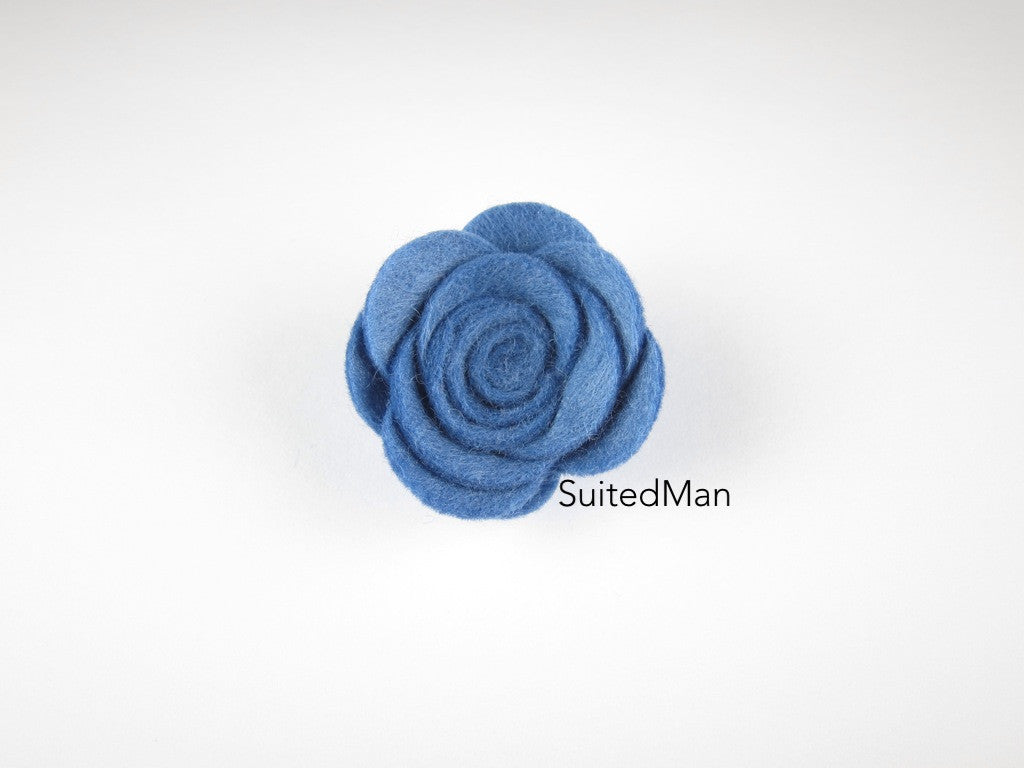 Lapel Flower, Felt, Rose, Cornflower Blue - SuitedMan