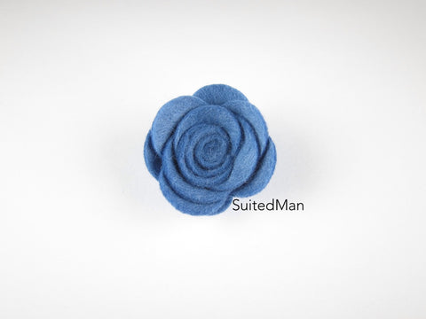 Lapel Flower, Felt, Rose, Cornflower Blue