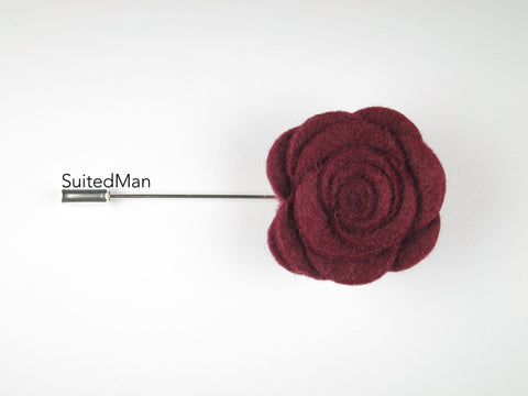 Pin Lapel Flower, Felt, Rose, Brandy - SuitedMan