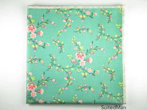 Pocket Square, Pink Cherry Blossom with Cream Embroidered Edge - SuitedMan