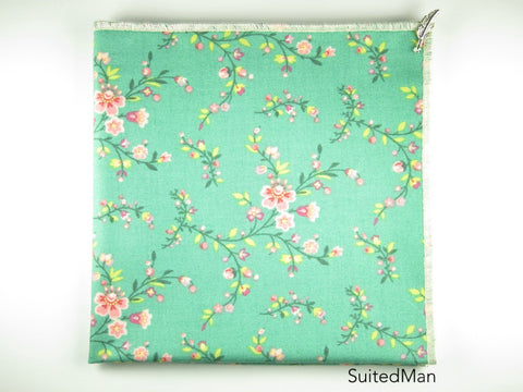 Pocket Square, Pink/Cream Cherry Blossom with Signature Leaf - SuitedMan