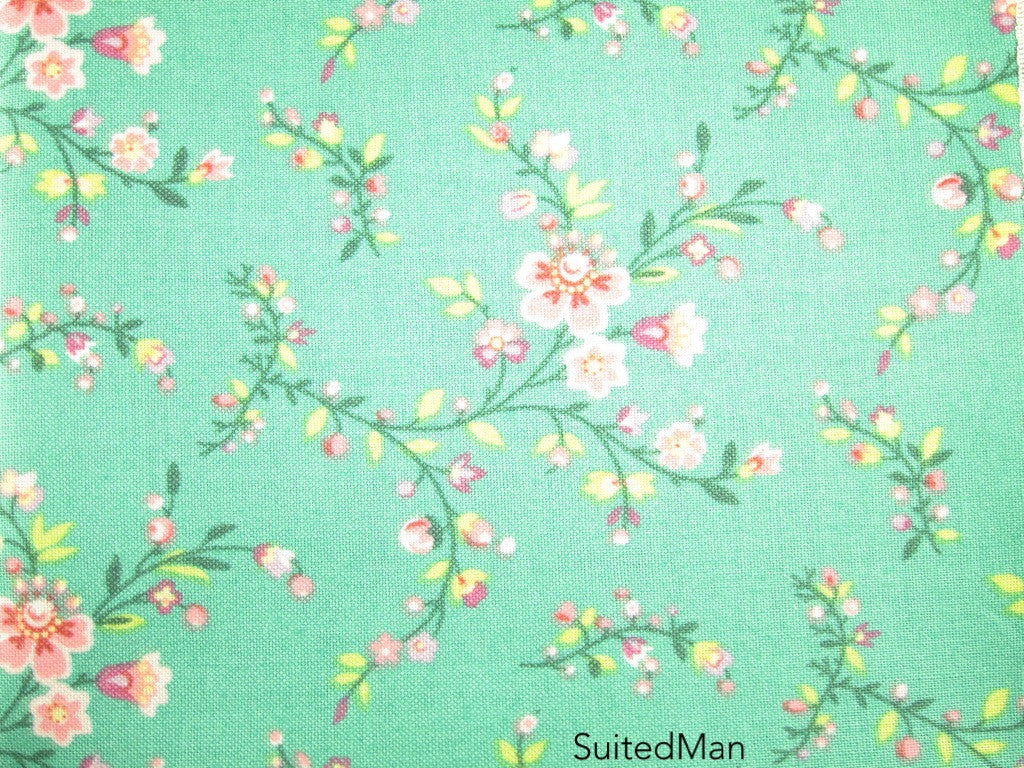 Pocket Square, Pink Cherry Blossom with Pink Embroidered Edge - SuitedMan