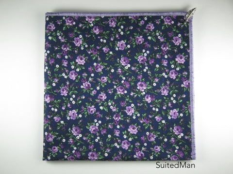 Pocket Square, Lavender Rose with Signature Leaf