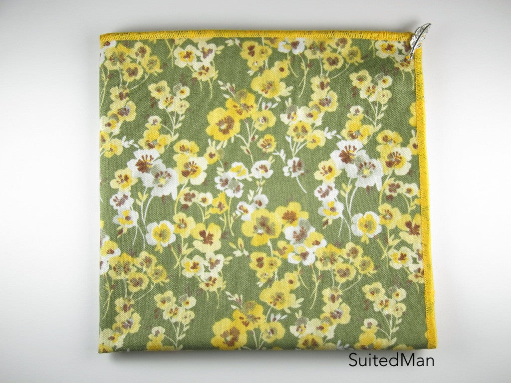 Pocket Square, Yellow Poppy with Signature Leaf - SuitedMan