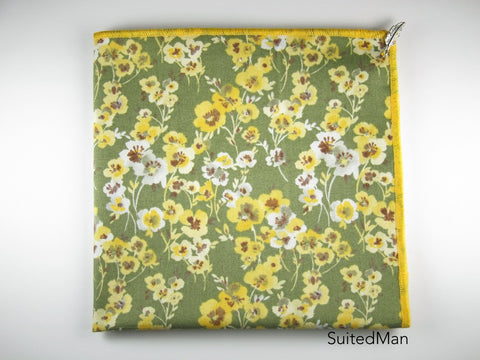 Pocket Square, Yellow Poppy with Signature Leaf