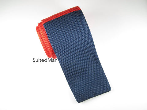Knit Tie, Colorblock, Red/Blue