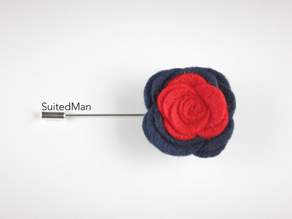 Pin Lapel Flower, Felt, Colorblock, Midnight Blue/Red - SuitedMan