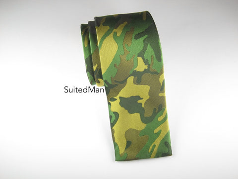 Tie, Camo, Green, Flat End - SuitedMan