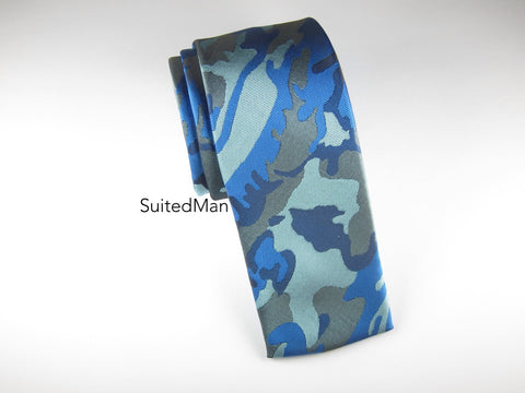 Tie, Camo, Blue, Flat End - SuitedMan