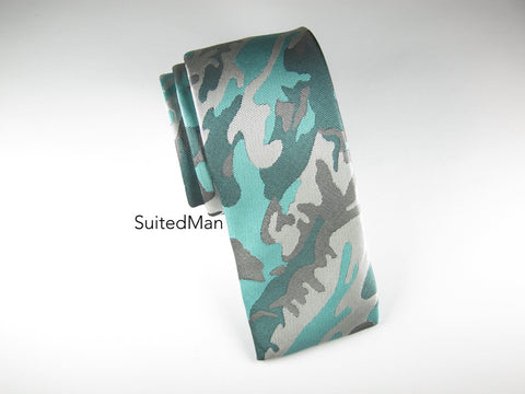 Tie, Camo, Teal, Flat End - SuitedMan