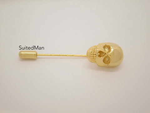 Lapel Pin, Skull, Gold