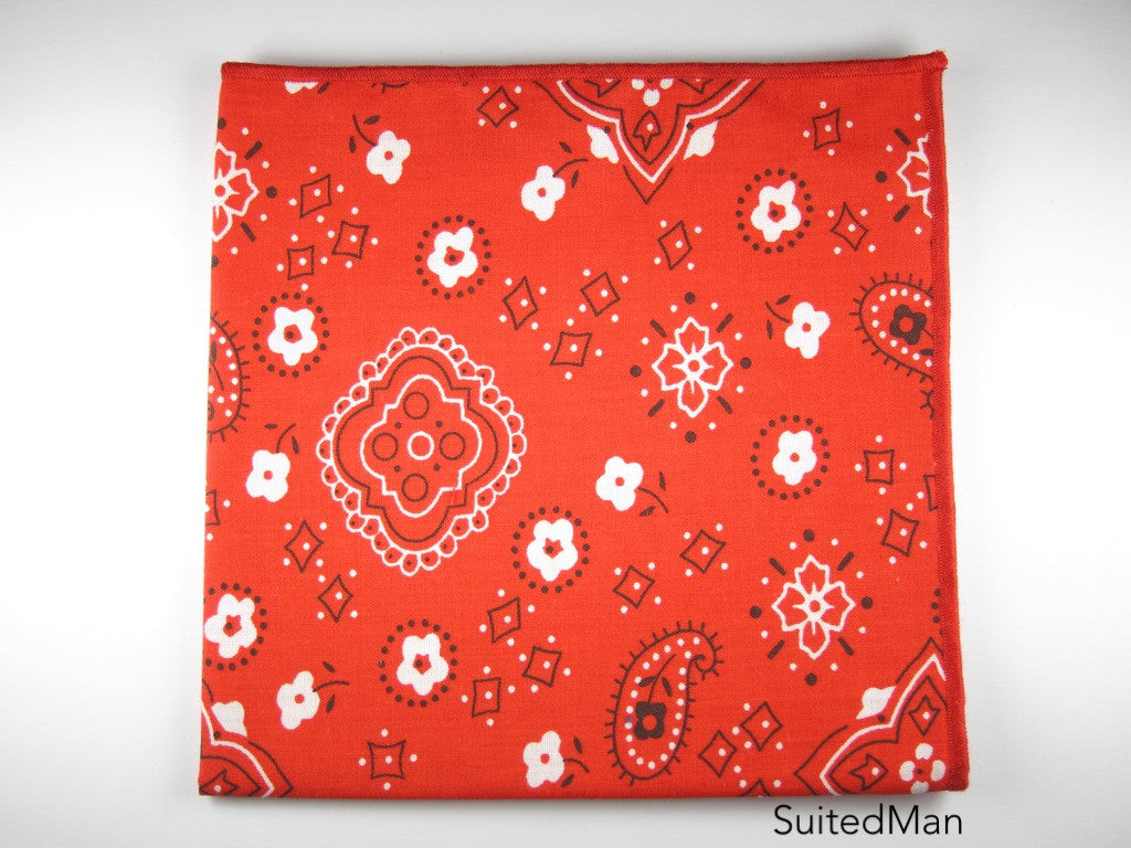 Pocket Square, Bandana, Red - SuitedMan