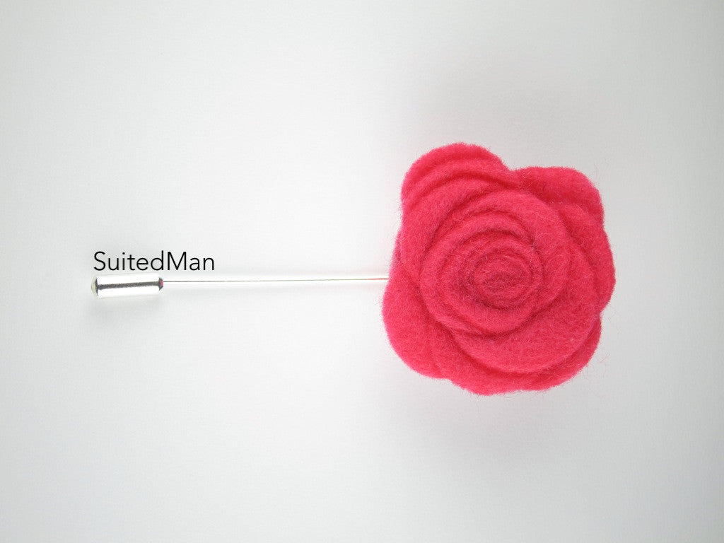 Pin Lapel Flower, Felt, Rose, Neon Pink - SuitedMan