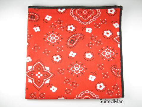 Pocket Square, Bandana, Red/Black