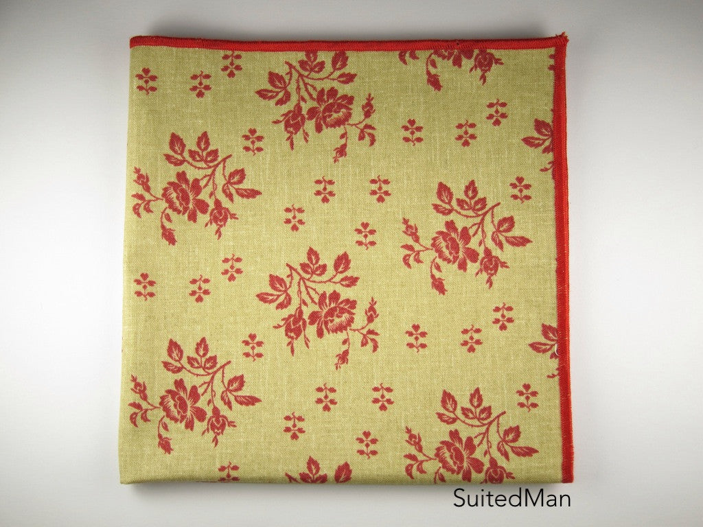 Pocket Square, Fleur Rouge - SuitedMan