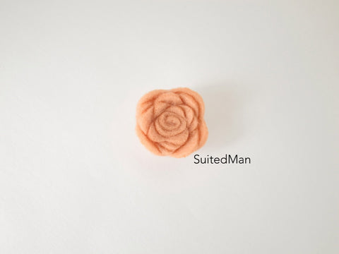 Lapel Flower, Felt, Rosebud, Peach - SuitedMan