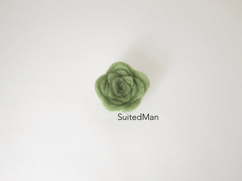 Lapel Flower, Felt, Rosebud, Mint