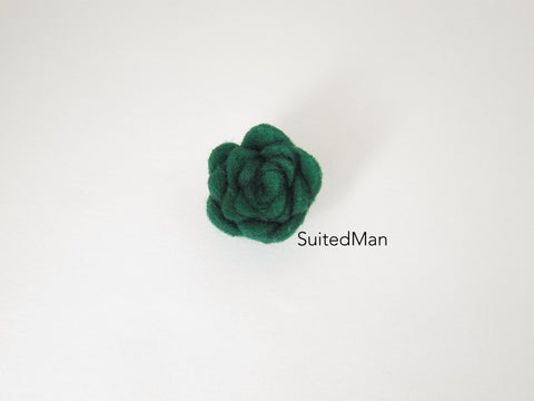 Lapel Flower, Felt, Rosebud, Forest Green