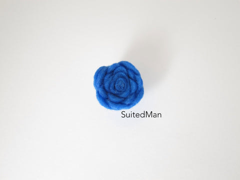 Lapel Flower, Felt, Rosebud, Blue (Limited)