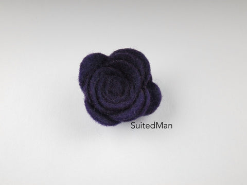 Lapel Flower, Felt, Rose, Deep Purple