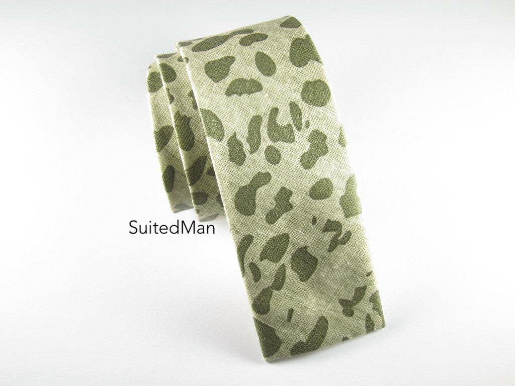 Tie, Safari, Shades of Green, Flat End - SuitedMan