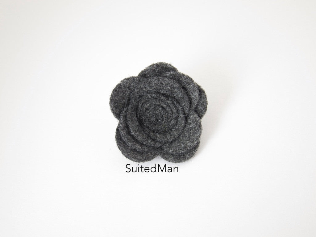 Lapel Flower, Felt, Rose, Dark Grey - SuitedMan