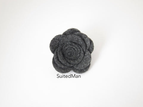 Lapel Flower, Felt, Rose, Dark Grey