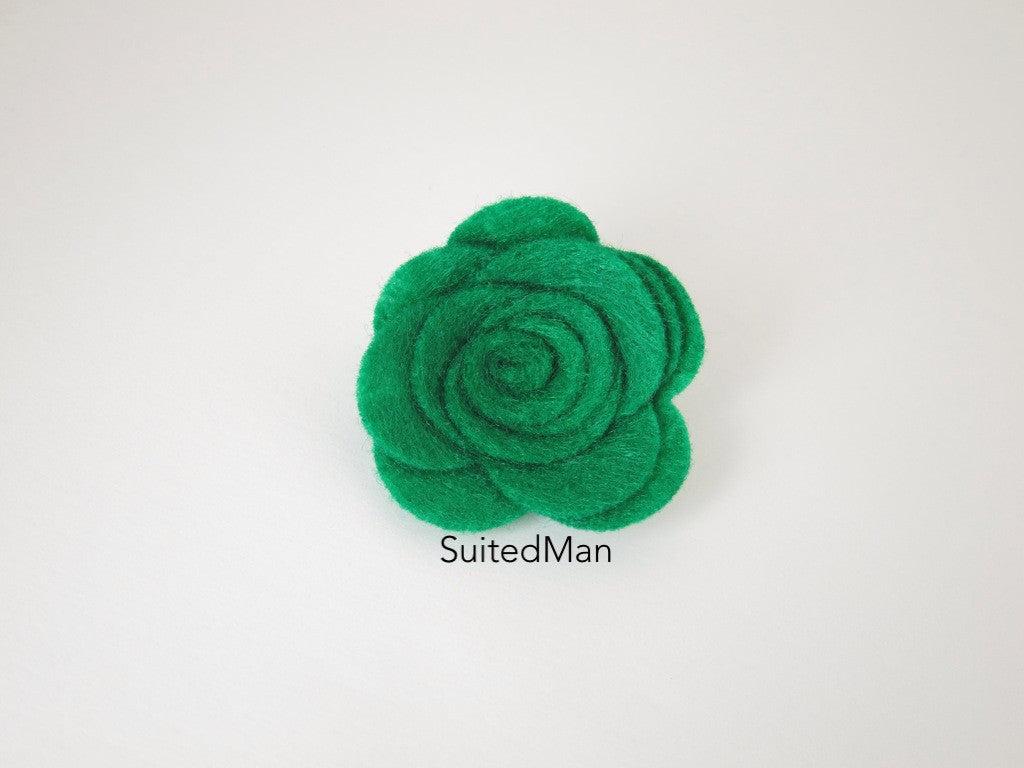 Lapel Flower, Felt, Rose, Emerald Green - SuitedMan