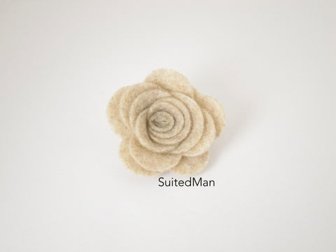 Lapel Flower, Felt, Rose, Burlap