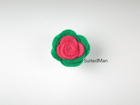 Lapel Flower, Felt, Colorblock, Neon Pink/Emerald Green - SuitedMan