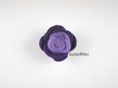 Lapel Flower, Felt, Colorblock, Shades of Purple - SuitedMan