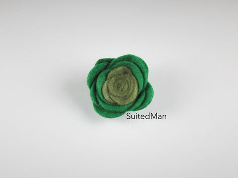 Lapel Flower, Felt, Colorblock, Shades of Green - SuitedMan