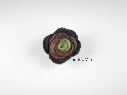 Lapel Flower, Felt, Colorblock, Green/Brown/Black