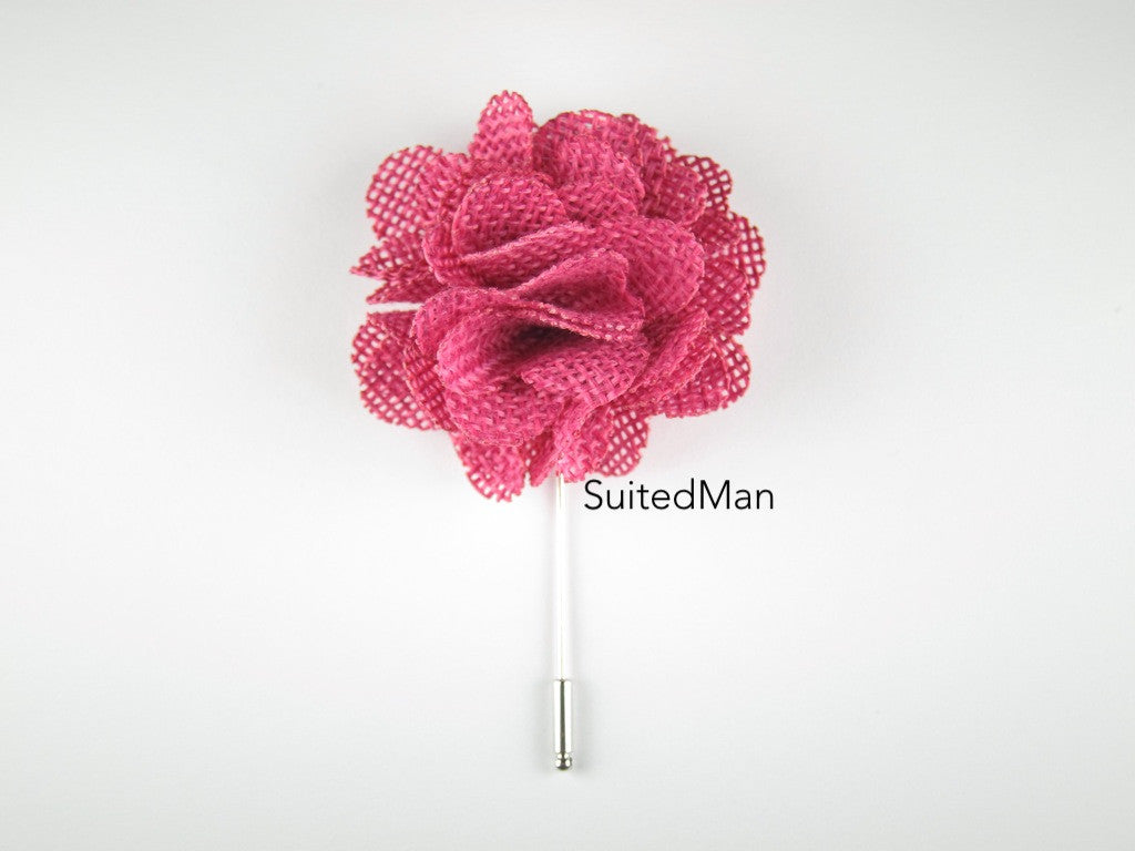 Pin Lapel Flower, Burlap, Magenta - SuitedMan