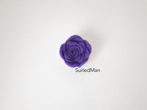 Lapel Flower, Felt, Rosebud, Purple (Limited) - SuitedMan