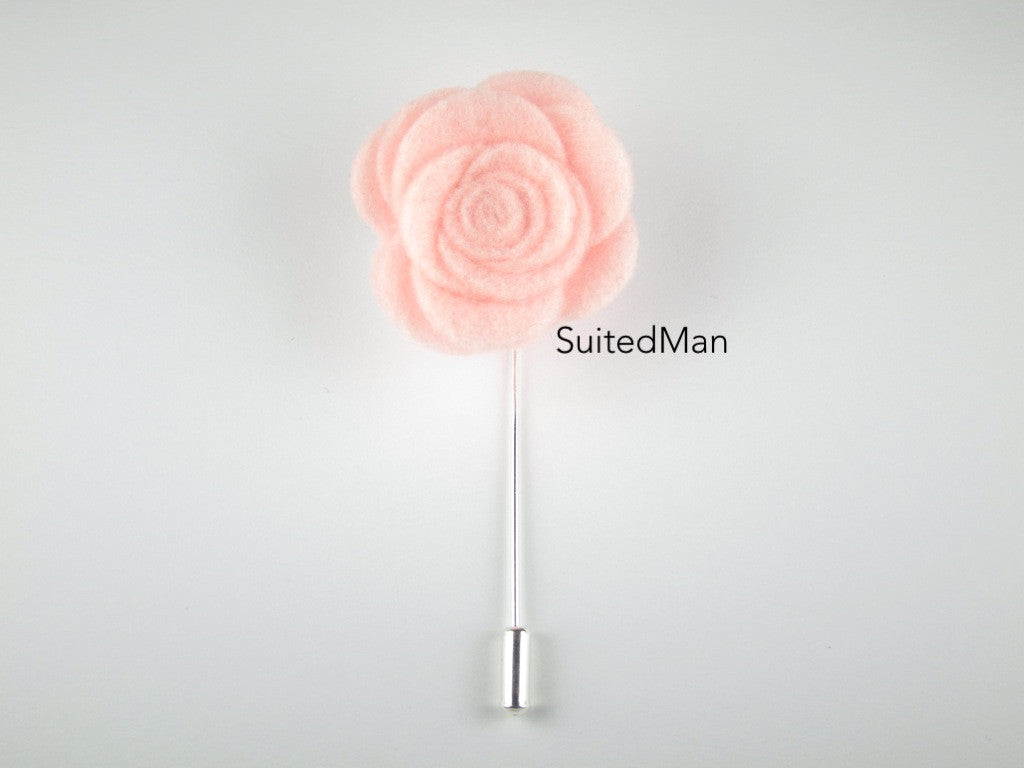 Pin Lapel Flower, Felt, Rose, Light Pink - SuitedMan