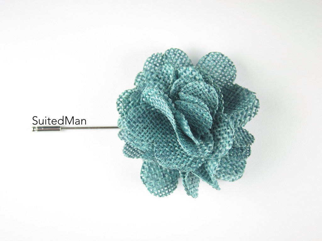 Pin Lapel Flower, Burlap, Caribbean Green - SuitedMan