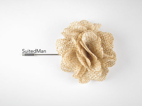 Pin Lapel Flower, Burlap, Sand - SuitedMan