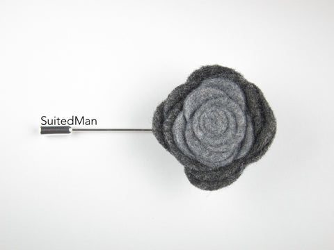 Pin Lapel Flower, Felt, Colorblock, Shades of Grey - SuitedMan