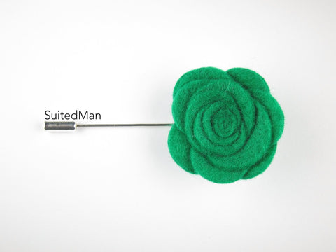 Pin Lapel Flower, Felt, Rose, Emerald Green