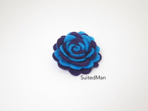 Lapel Flower, Felt, Two Tone, Blue/Deep Purple Colorway - SuitedMan