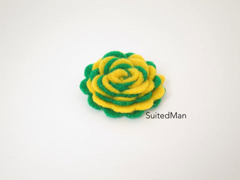 Lapel Flower, Felt, Two Tone, Deep Yellow/Emerald Green Colorway