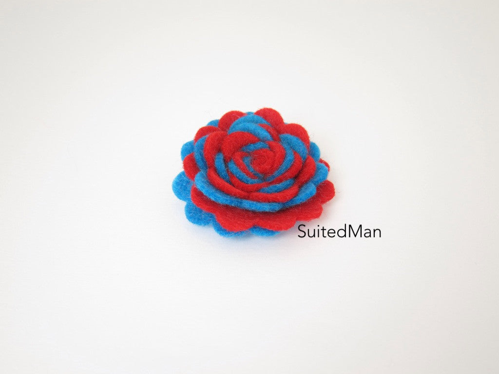 Lapel Flower, Felt, Two Tone, Red/Blue Colorway - SuitedMan