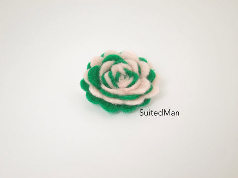 Lapel Flower, Felt, Two Tone, Light Pink/Emerald Green Colorway