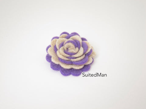 Lapel Flower, Felt, Two Tone, Burlap/Lavender Colorway