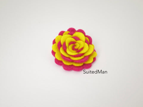 Lapel Flower, Felt, Two Tone, Neon Yellow/Neon Pink Colorway