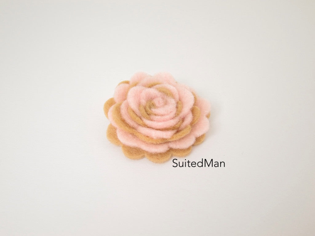 Lapel Flower, Felt, Two Tone, Light Pink/Mocha Colorway - SuitedMan